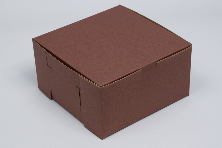 9 x 9 x 5 CHOCOLATE ONE-PIECE BAKERY BOXES