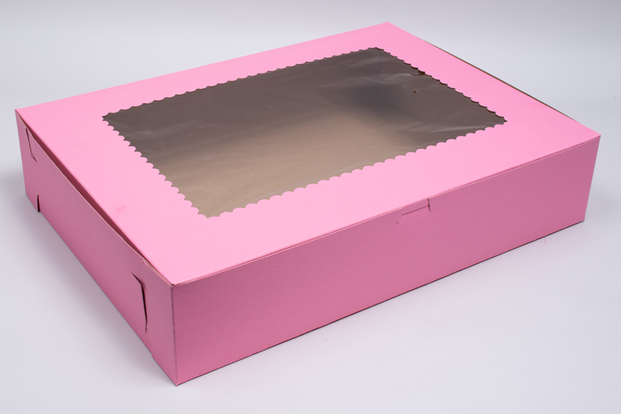 19 x 14 x 4 STRAWBERRY PINK CUPCAKE BOXES WITH WINDOWS