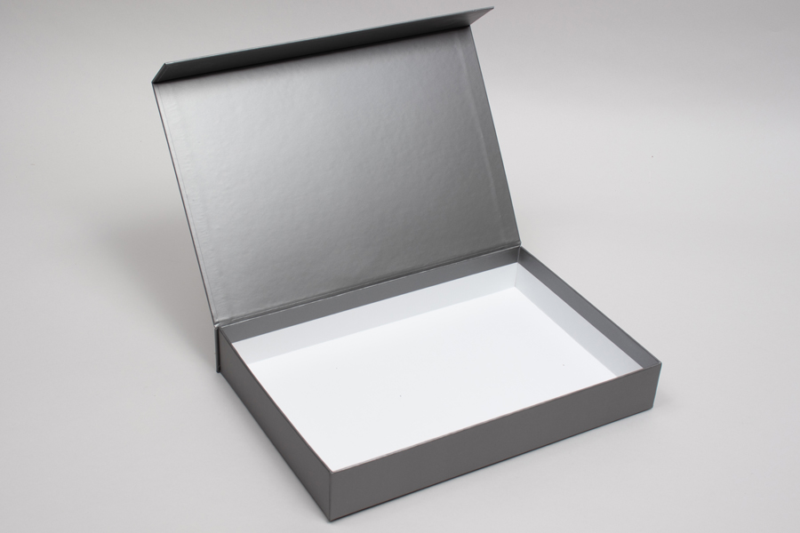 "10-13/16"" x 7-3/16"" x 1-9/16"" MATTE PEWTER RIGID MAGNETIC LID GIFT BOXES"