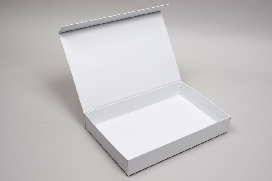 "10-13/16"" x 7-3/16"" x 1-9/16"" MATTE WHITE RIGID MAGNETIC LID GIFT BOXES"
