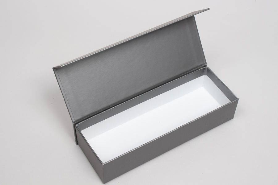 "8"" x 2-3/4"" x 1-5/8"" MATTE PEWTER RIGID MAGNETIC LID GIFT BOXES"