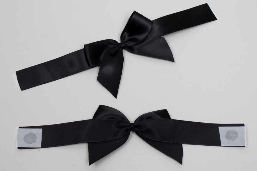 "4-1/2 x 2-3/4"" PRE-TIED BOW – SELF-ADHESIVE 1-1/2"" BLACK RIBBON FOR 8"" x 8"" MAGNETIC BOX"