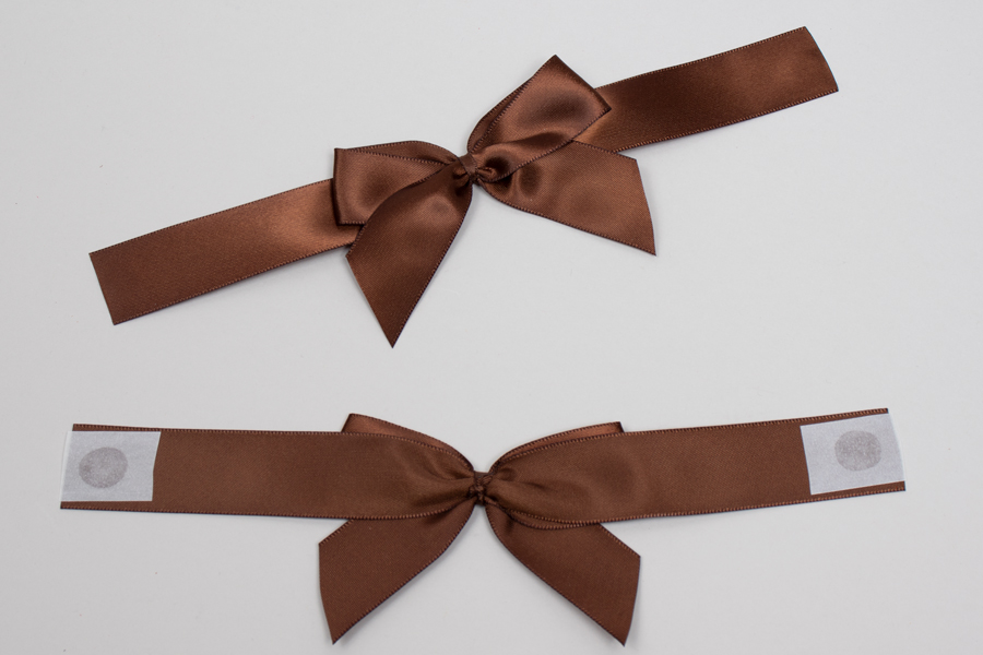 "3"" x 2"" PRE-TIED BOW – SELF-ADHESIVE 7/8"" BROWN RIBBON FOR 6"" x 6"" MAGNETIC BOX"