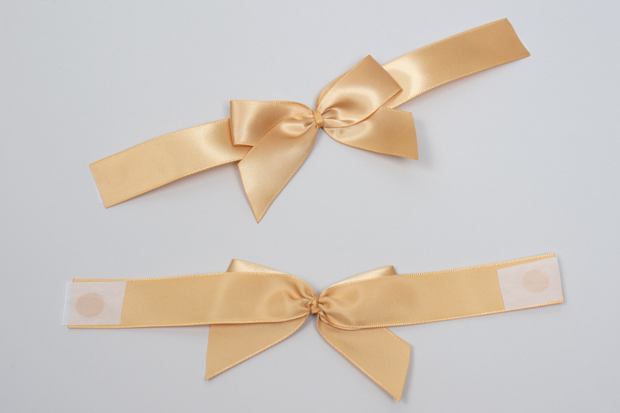 "3"" x 2"" PRE-TIED BOW – SELF-ADHESIVE 7/8"" GOLD RIBBON FOR 6"" x 6"" MAGNETIC BOX"