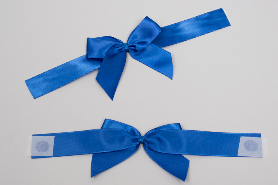 "3"" x 2"" PRE-TIED BOW – SELF-ADHESIVE 7/8"" BLUE RIBBON FOR 6"" x 6"" MAGNETIC BOX"