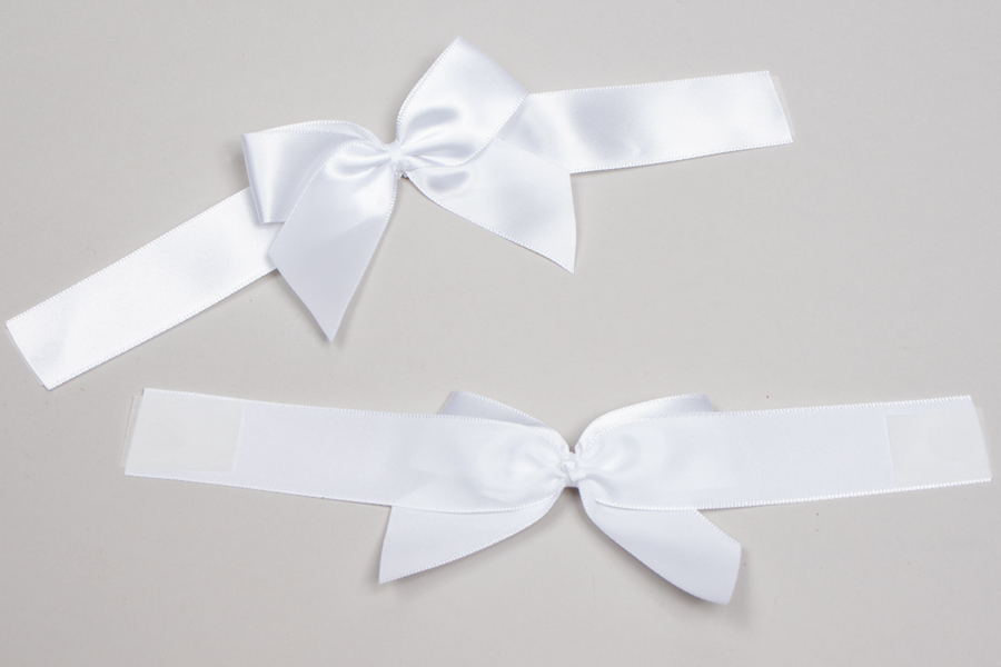 "3"" x 2"" PRE-TIED BOW – SELF-ADHESIVE 7/8"" WHITE RIBBON FOR 6"" x 6"" MAGNETIC BOX"