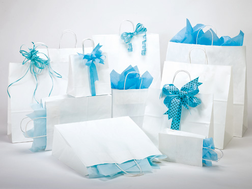 MC - Paper Shopping Bags - White Kraft