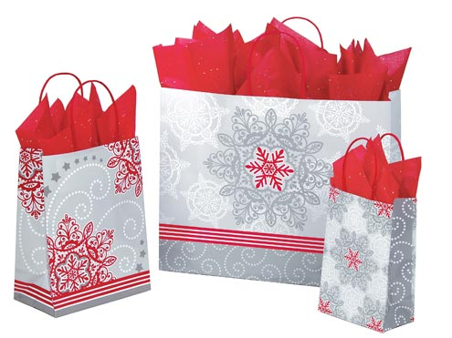 Christmas Lace Paper Shopping Bags