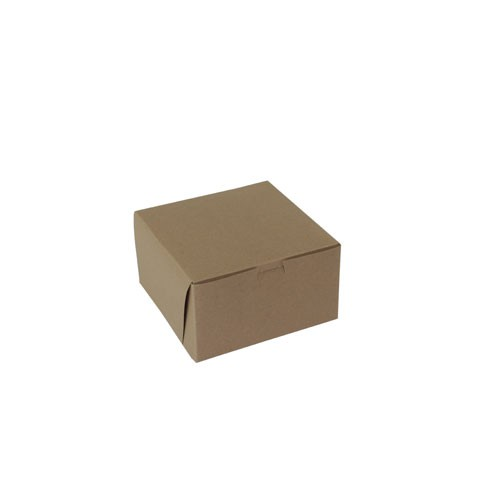 7 x 7 x 4 NATURAL KRAFT ONE-PIECE BAKERY BOXES