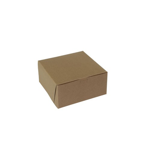 8 x 8 x 4 NATURAL KRAFT ONE-PIECE BAKERY BOXES