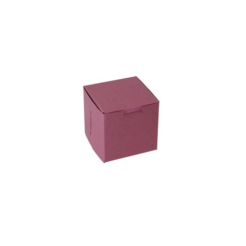 4 x 4 x 4 STRAWBERRY PINK ONE-PIECE BAKERY BOXES