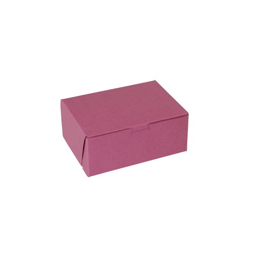 8 x 5.5 x 3 STRAWBERRY PINK ONE-PIECE BAKERY BOXES