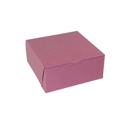 9 x 9 x 4 STRAWBERRY PINK ONE-PIECE BAKERY BOXES