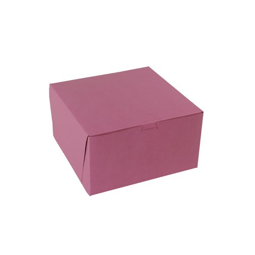 9 x 9 x 5 STRAWBERRY PINK ONE-PIECE BAKERY BOXES