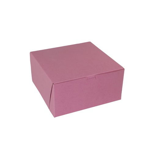 10 x 10 x 5 STRAWBERRY PINK ONE-PIECE BAKERY BOXES