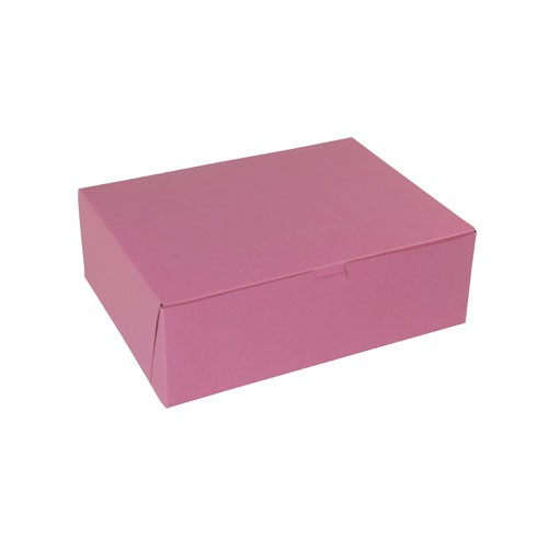 12 x 9 x 4 STRAWBERRY PINK ONE-PIECE BAKERY BOXES