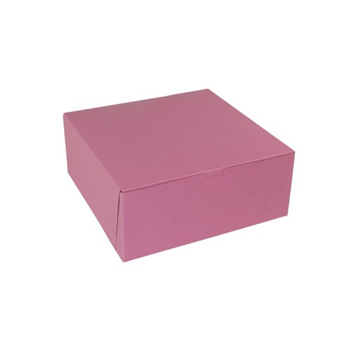 12 x 12 x 5 STRAWBERRY PINK ONE-PIECE BAKERY BOXES