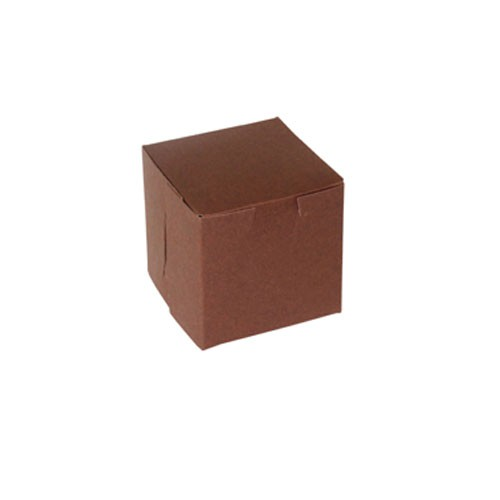 4 x 4 x 4 CHOCOLATE ONE-PIECE BAKERY/CUPCAKE BOXES