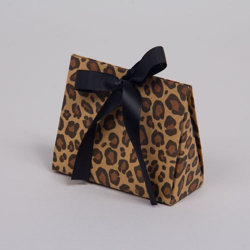 4.5 x 2 x 3.75 LEOPARD PRINT RIBBON TIED PURSE BOXES