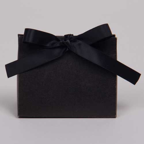 4.5 x 2 x 3.75 BLACK KRAFT RIBBON TIED PURSE BOXES