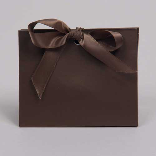4.5 x 2 x 3.75 MATTE CHOCOLATE RIBBON TIED PURSE BOXES