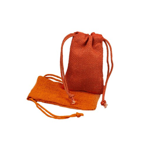3 x 5 ORANGE DRAWSTRING JUTE POUCHES