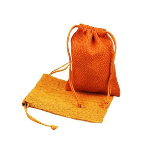 5 x 7 ORANGE DRAWSTRING JUTE POUCHES