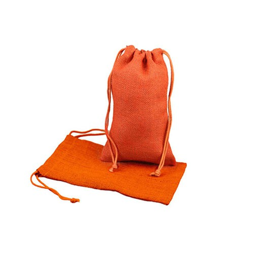 6 x 10 ORANGE DRAWSTRING JUTE POUCHES