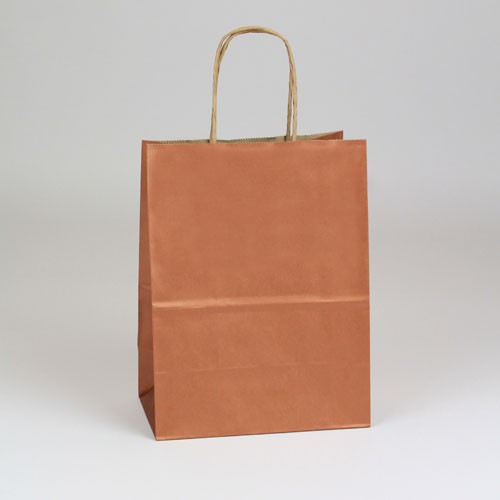 8 x 4.75 x 10.5 COPPER METALLIC PAPER SHOPPING BAGS ***LIMITED AVAILABILITY***